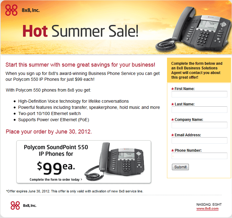 8×8 Inc Summer Sale – Get Polycom 550 Phone for $99