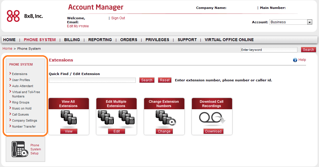 8x8 Account Manager