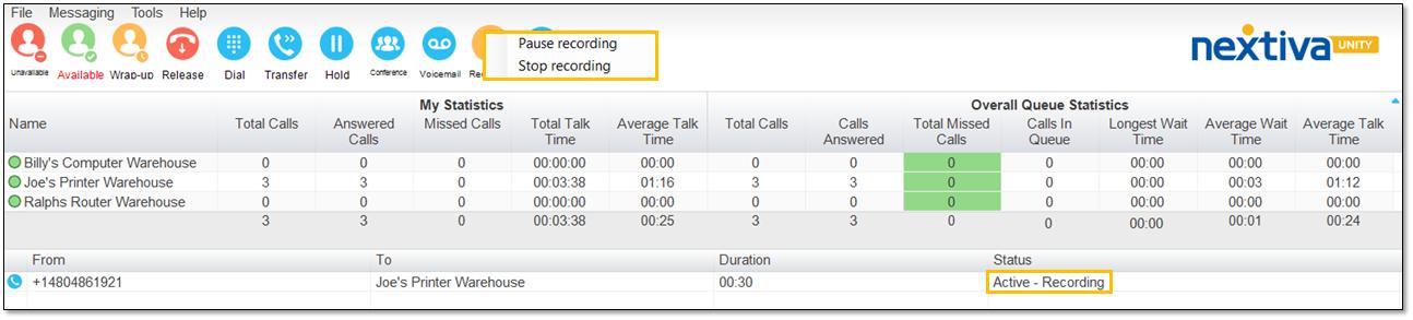 Call recording status