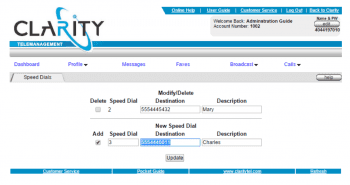 ClarityTel Speed Dial Overview