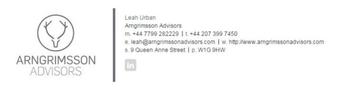 Arngrimsson Advisors email signature
