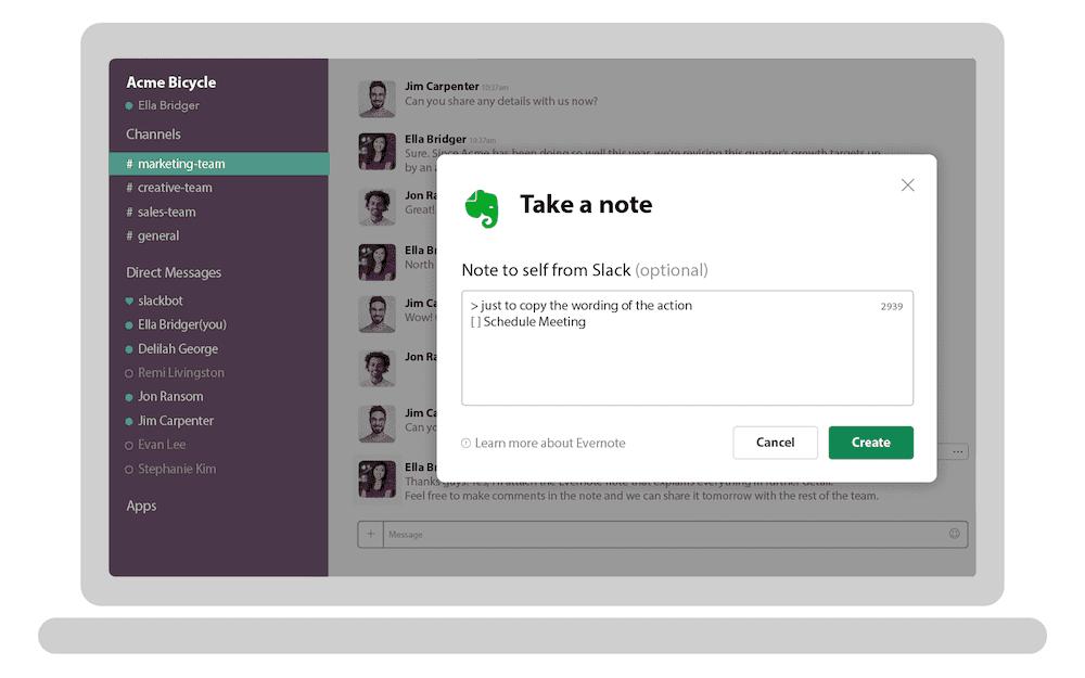Evernote slack integration