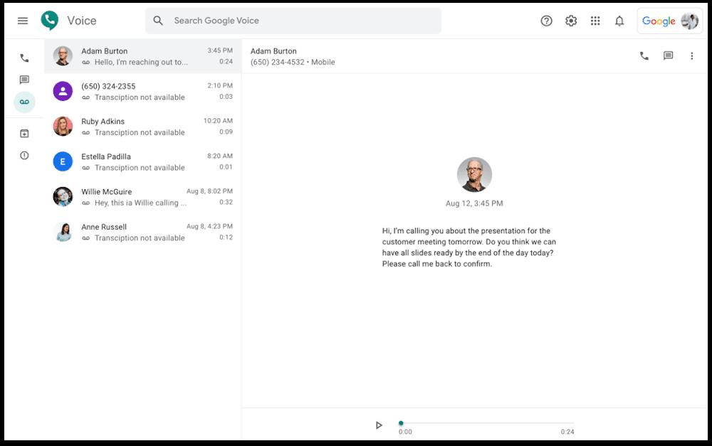 Google-Voice-Voicemail Trasncription