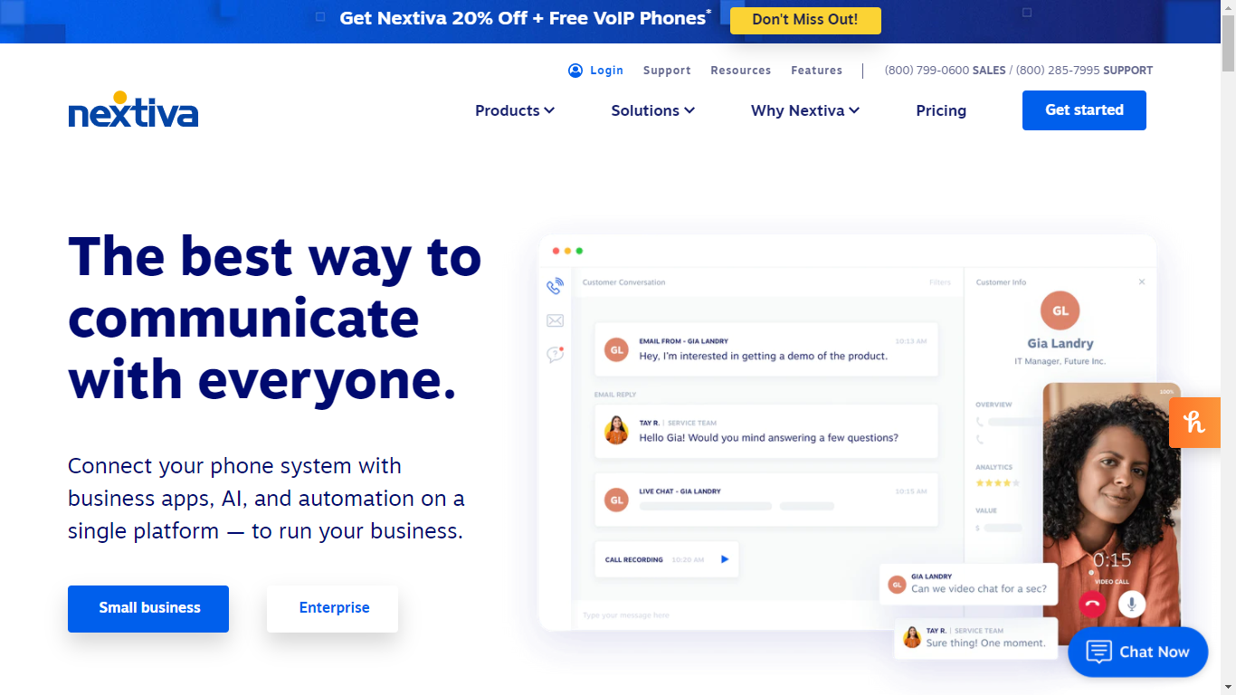 Nextiva homepage