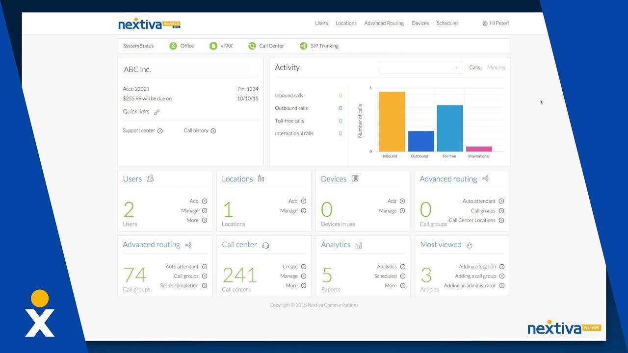 Nextiva admin dashboard