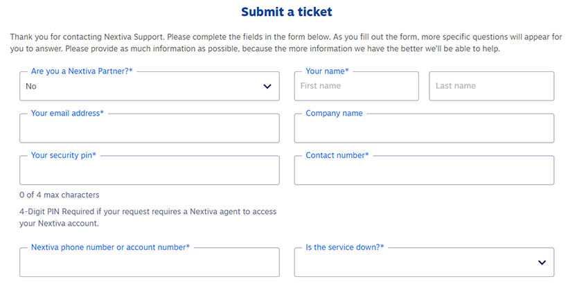 How to submit a ticket to Nextiva