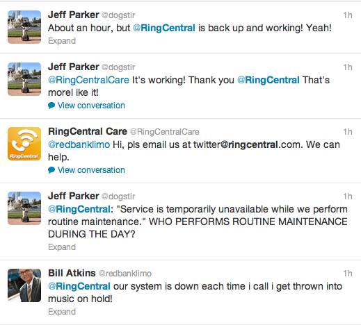 RingCentral Outage Tweets