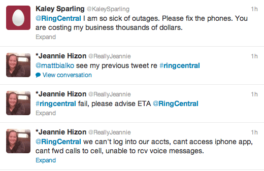 RingCentral Tweets about Outage