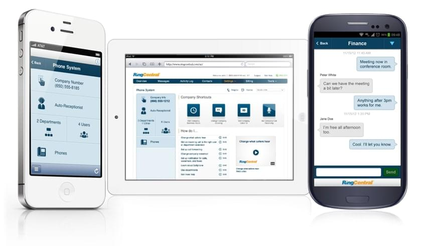 RingCentral's team chat and business phone interface