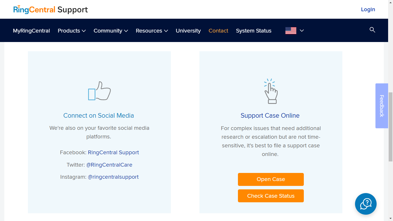RingCentral open a case