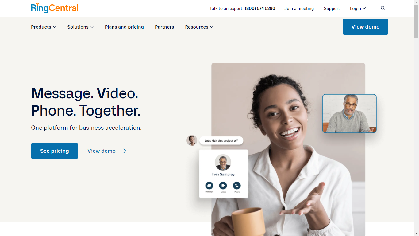 RingCentral homepage