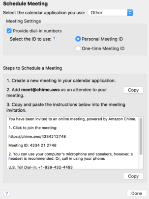 Amazon Chime Schedule Meeting