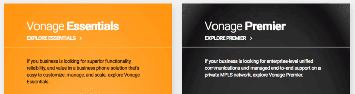Vonage Essentials and Premiere