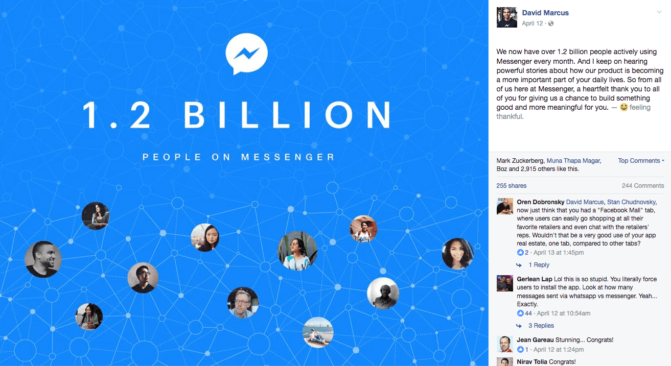 1.2 billion on FB Messenger
