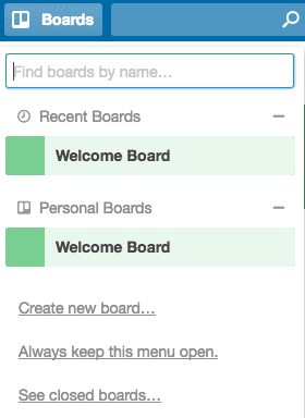 Trello Boards Menu