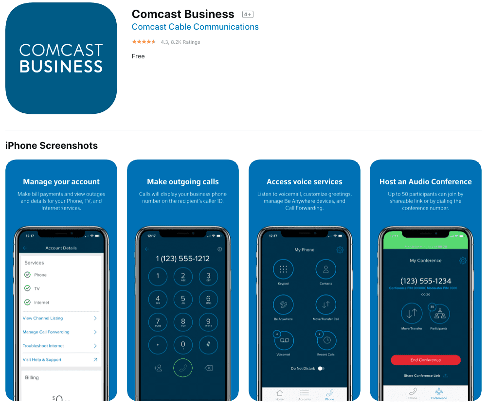 comcast business phone app