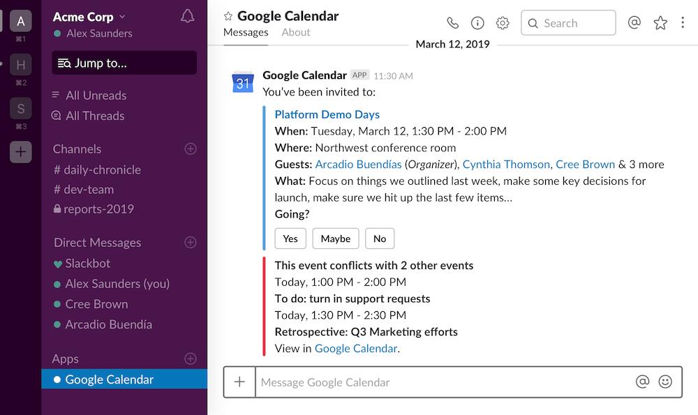 Slack Google Calendar