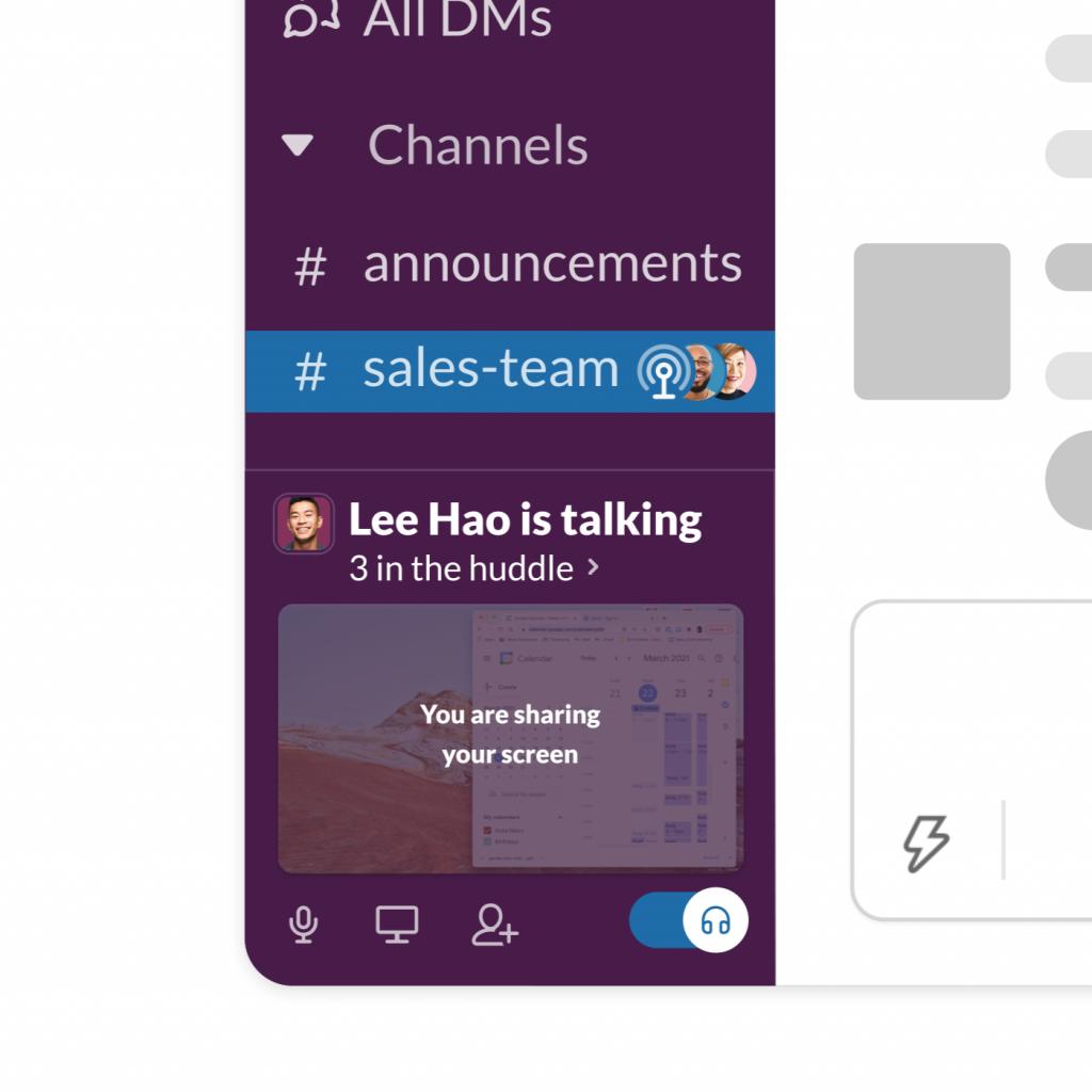 Slack Huddles Sharing Screen