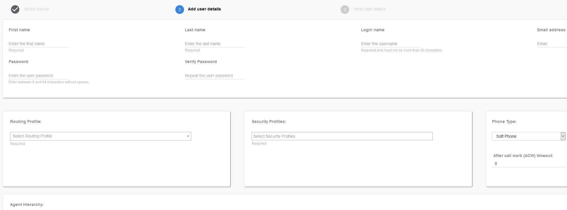 Amazon Connect Add New User Menu