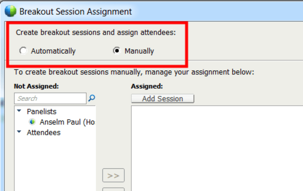 Assign Breakout Room Attendees WebEx