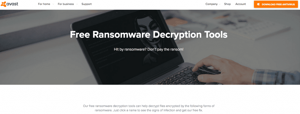 Avast Ransomware Decryption Tools