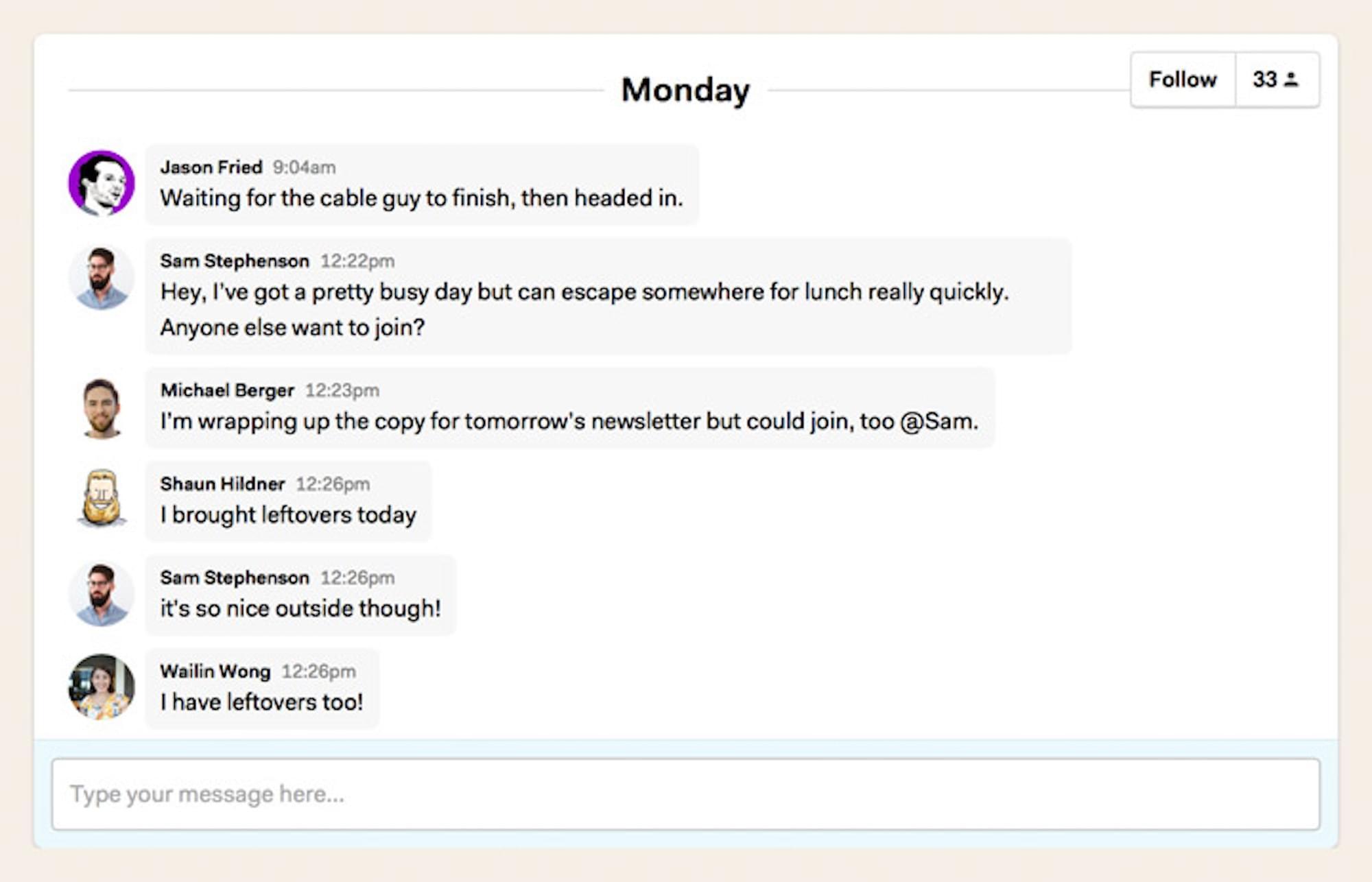 Basecamp chat tool