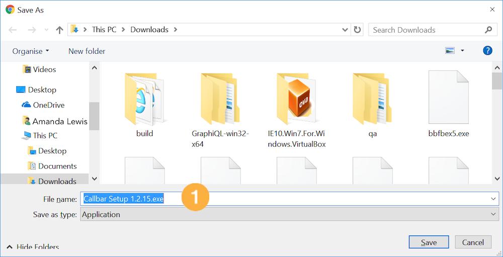 Callbar windows install