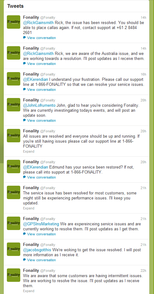 Fonality Service Outage - June 25, 2012