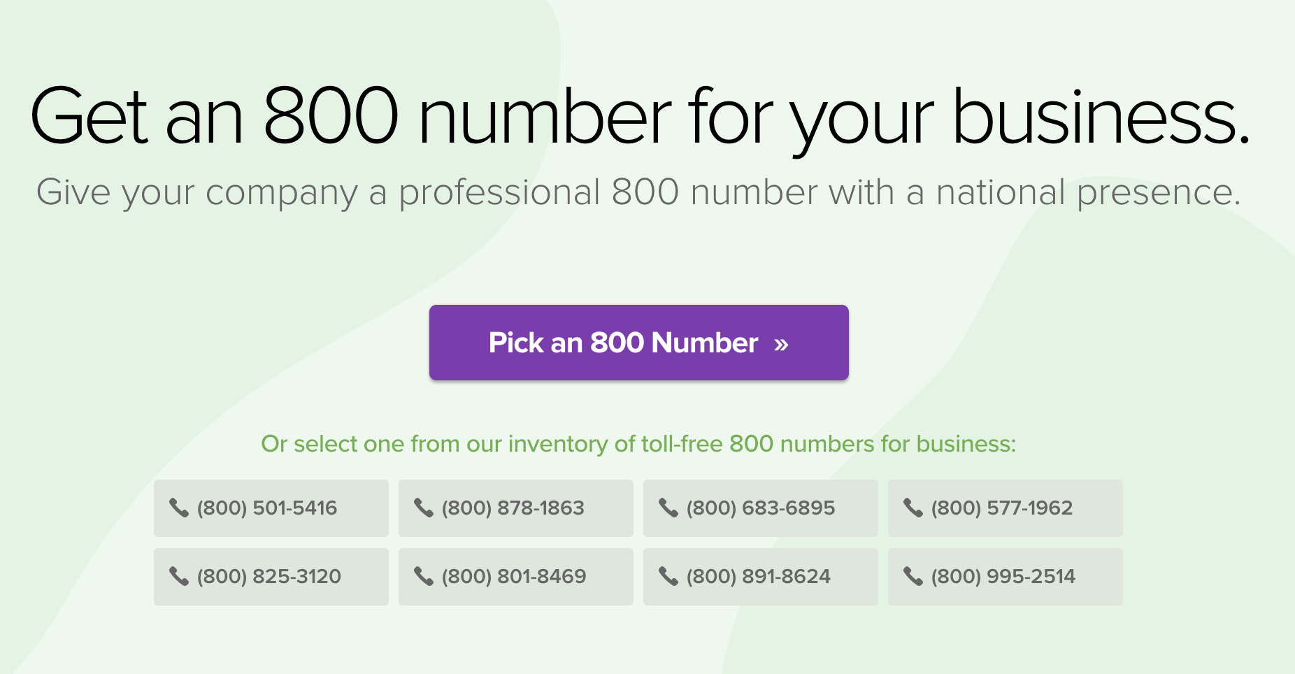 Grasshopper Sign up Screen for Toll Free Number