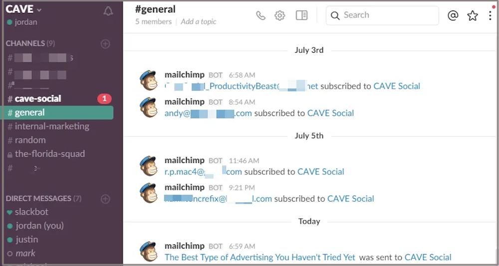 MailChimp Slack