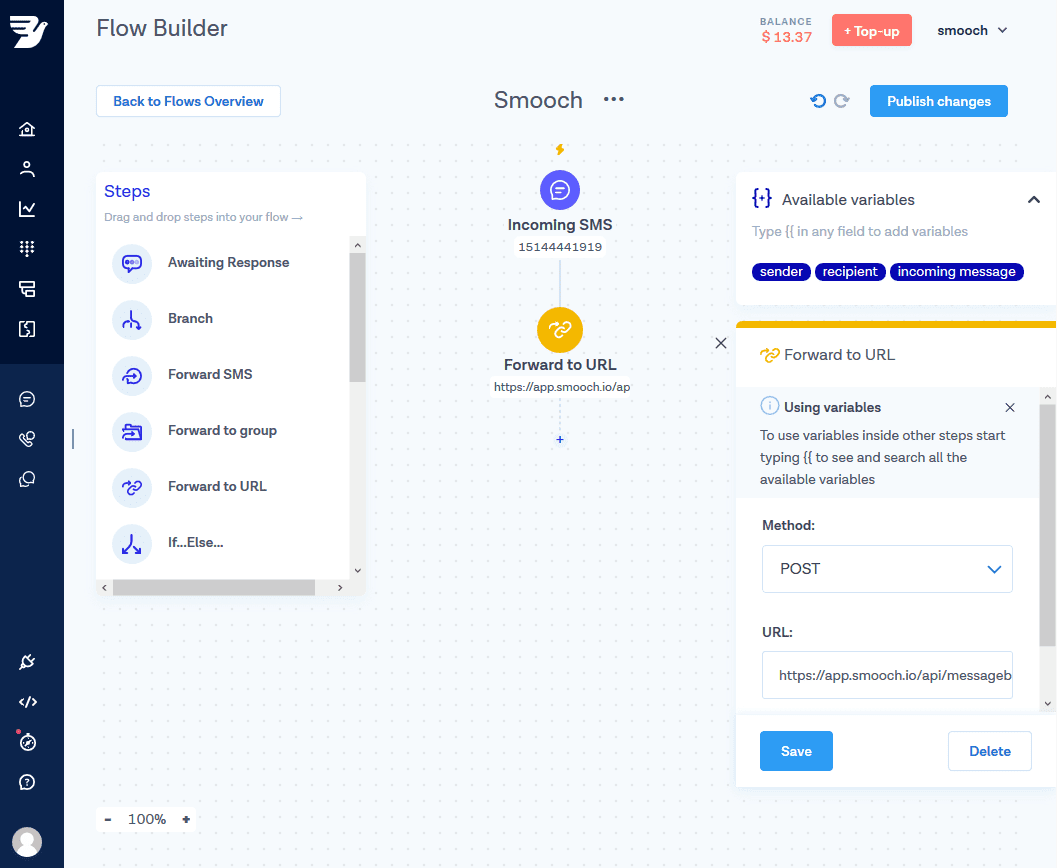 messagebird flow builder
