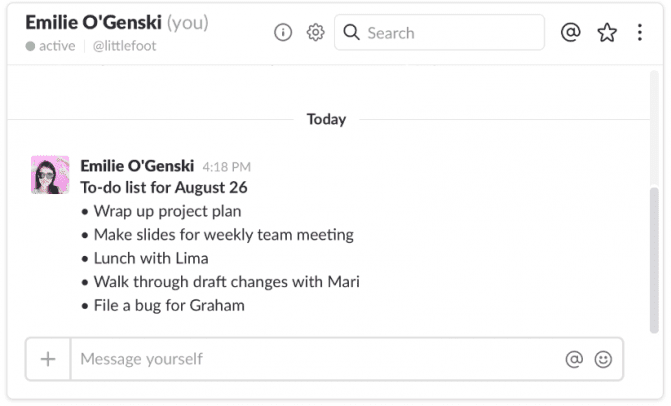 message yourself on slack