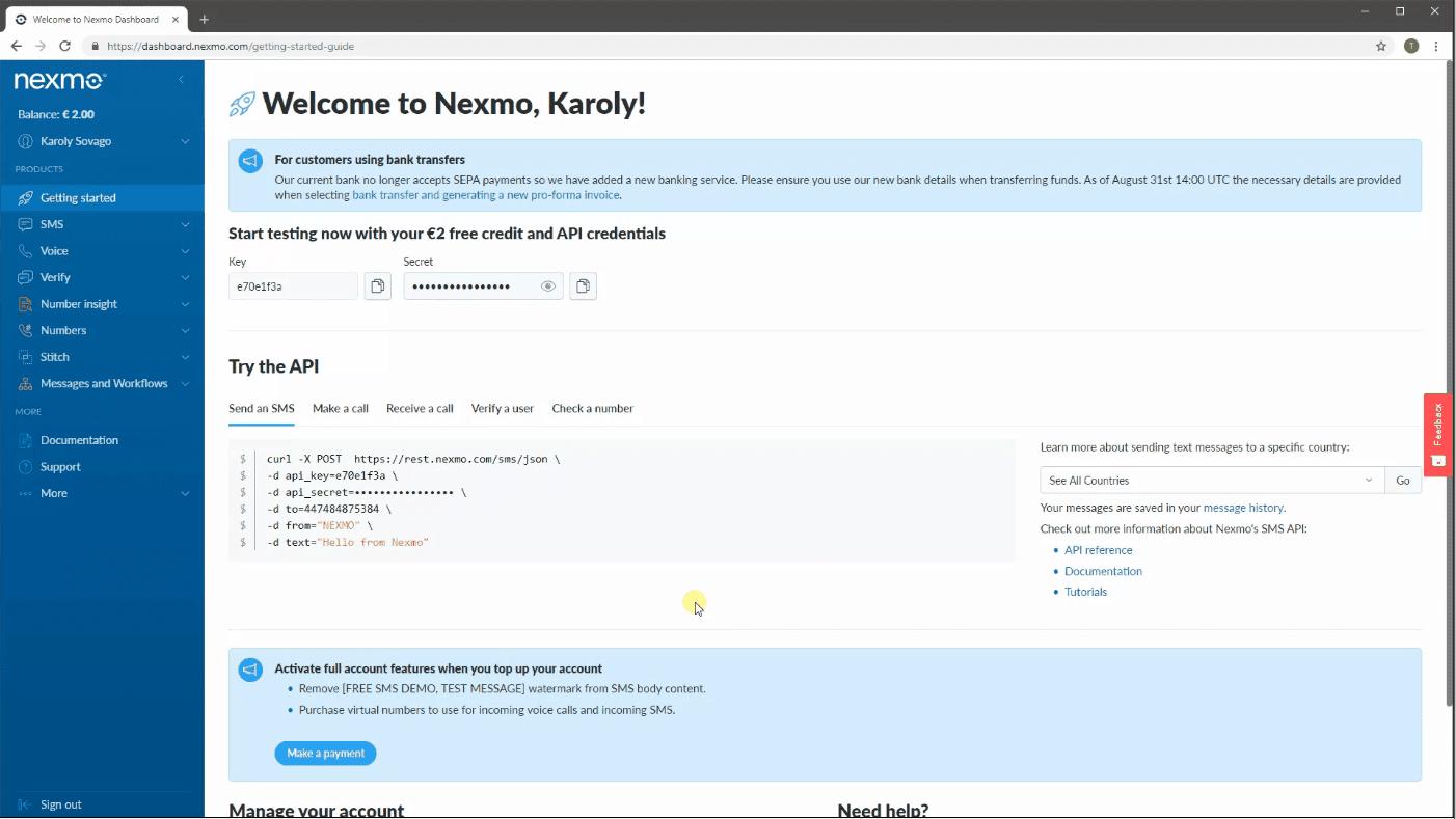 nexmo interface