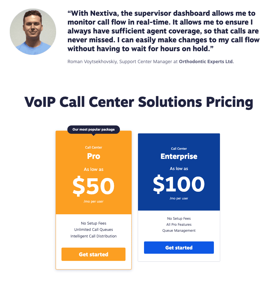 Nextiva's VoIP Call Center Solutions Pricing