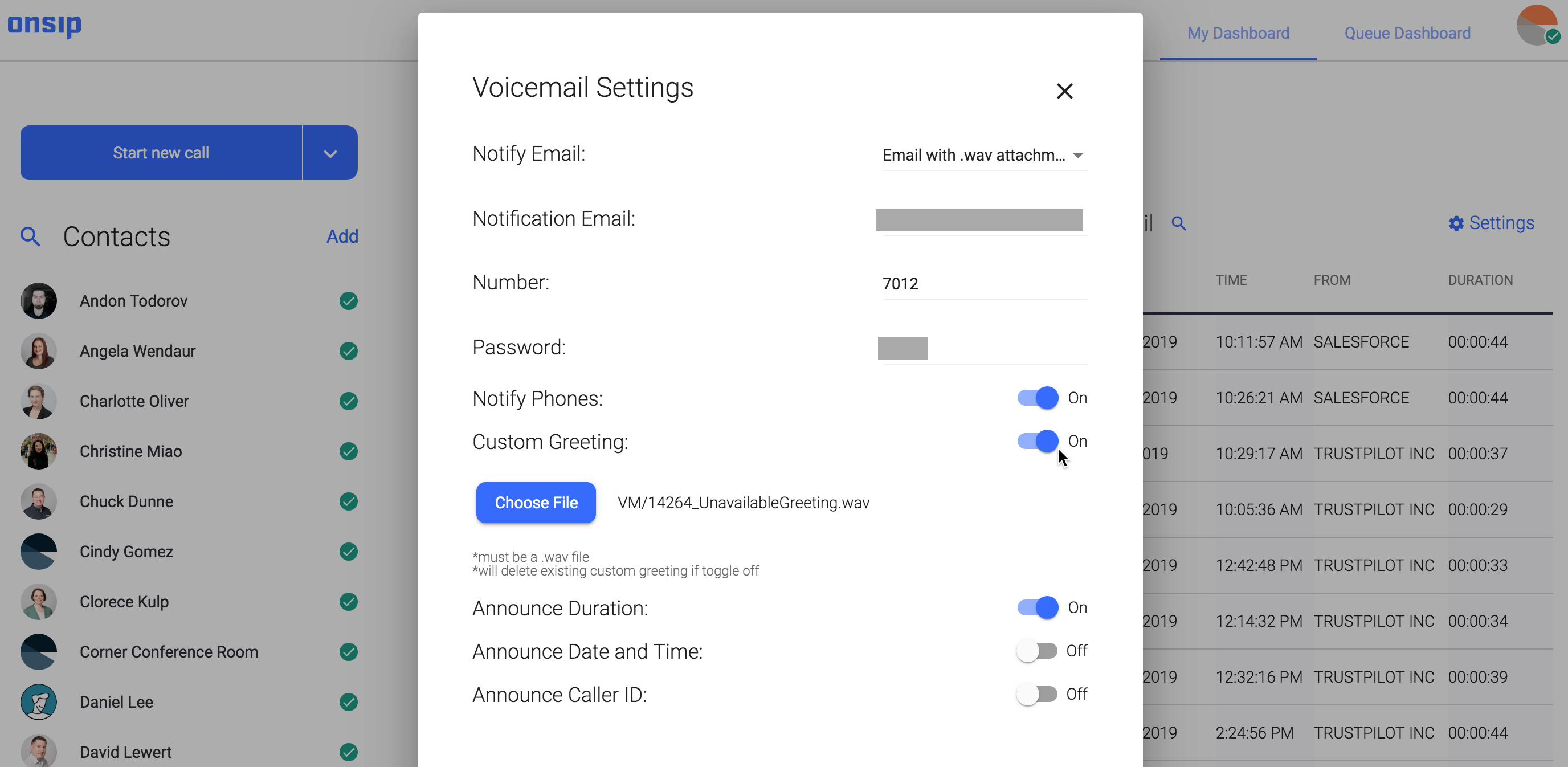 onsip voicemail