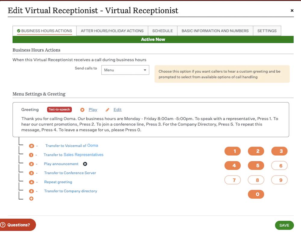Ooma Virtual Receptionist