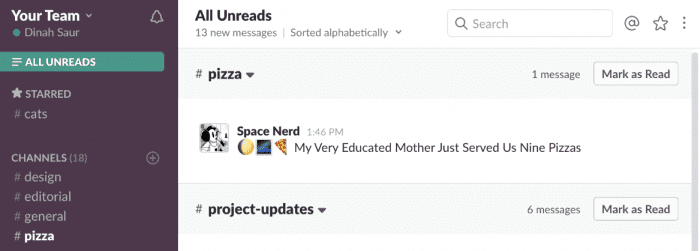 unread ordering slack