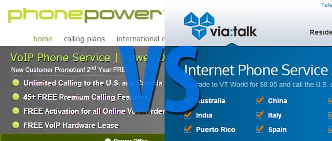 Phone Power vs ViaTalk – Head To Head Comparison