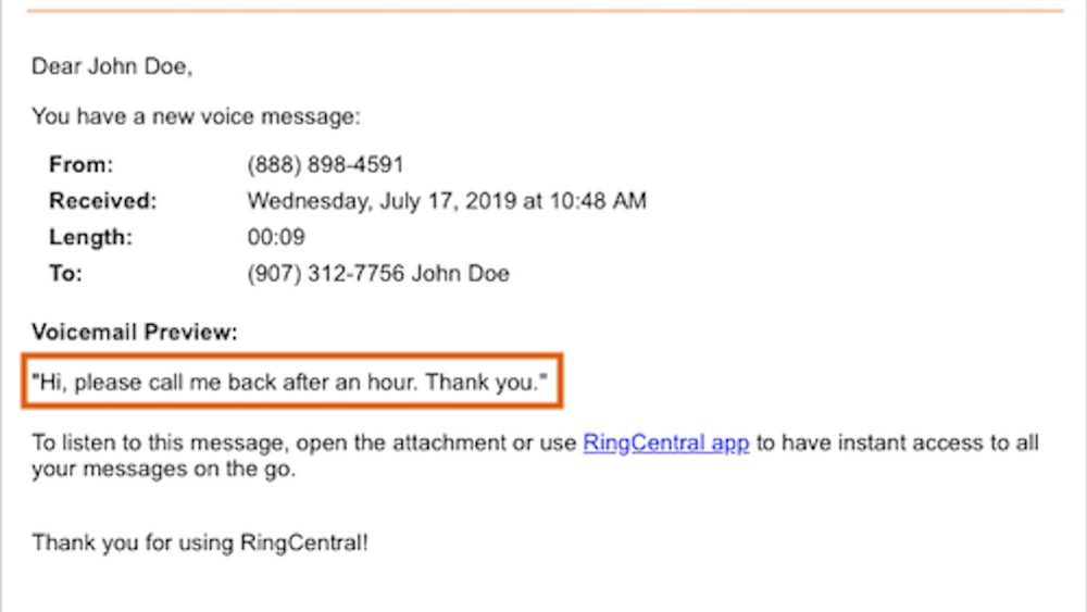 RingCentral Voicemail