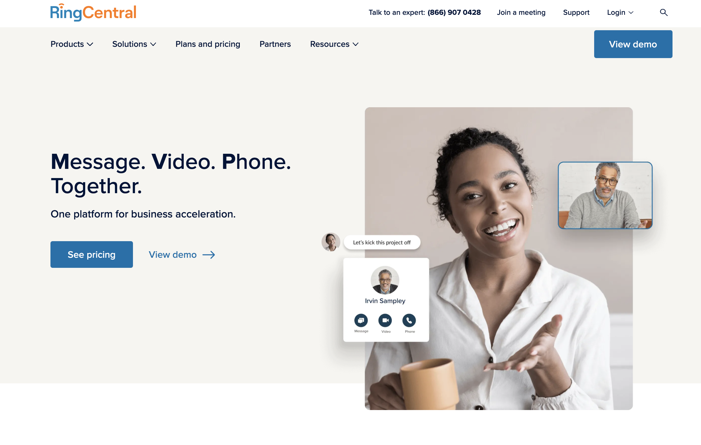 RingCentral Home Page Screenshot