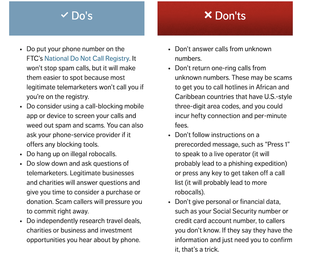Scams Dos and Dont's