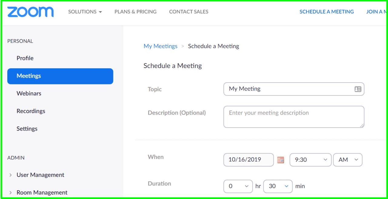 schedule meeting zoom