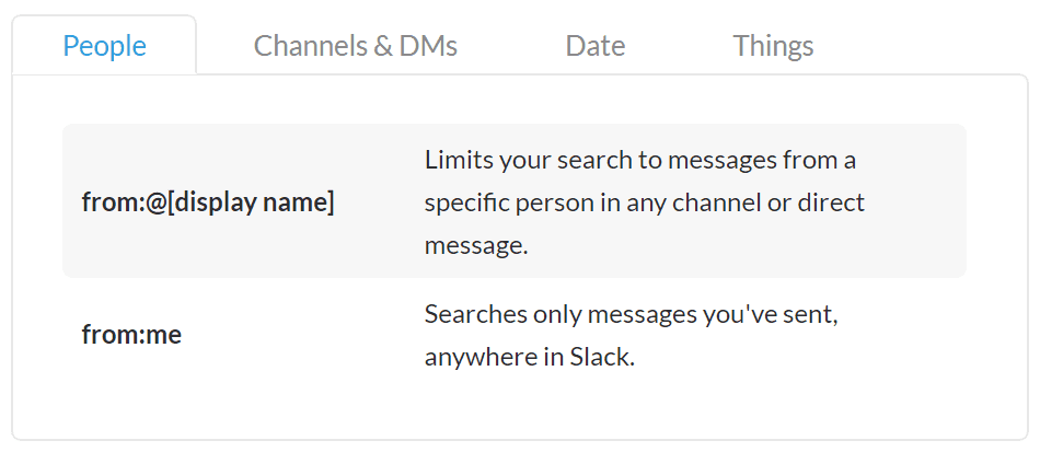 search modifiers slack