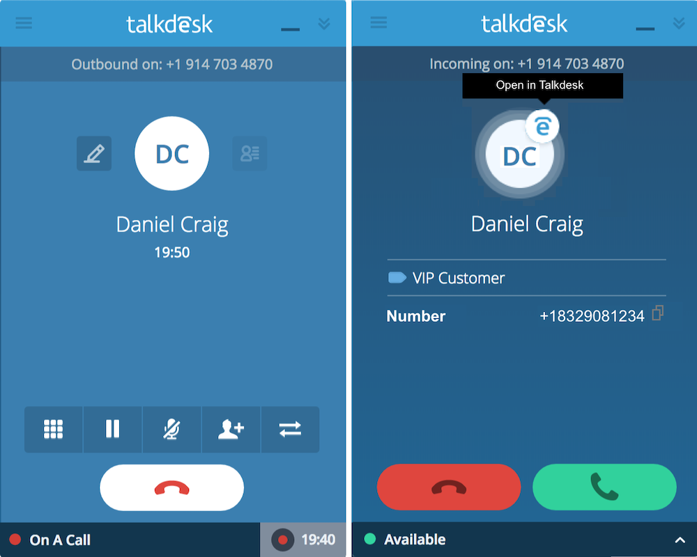 Talkdesk callbar
