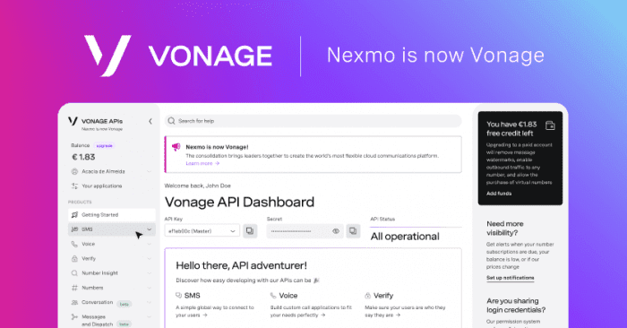 Vonage APIs dashboard