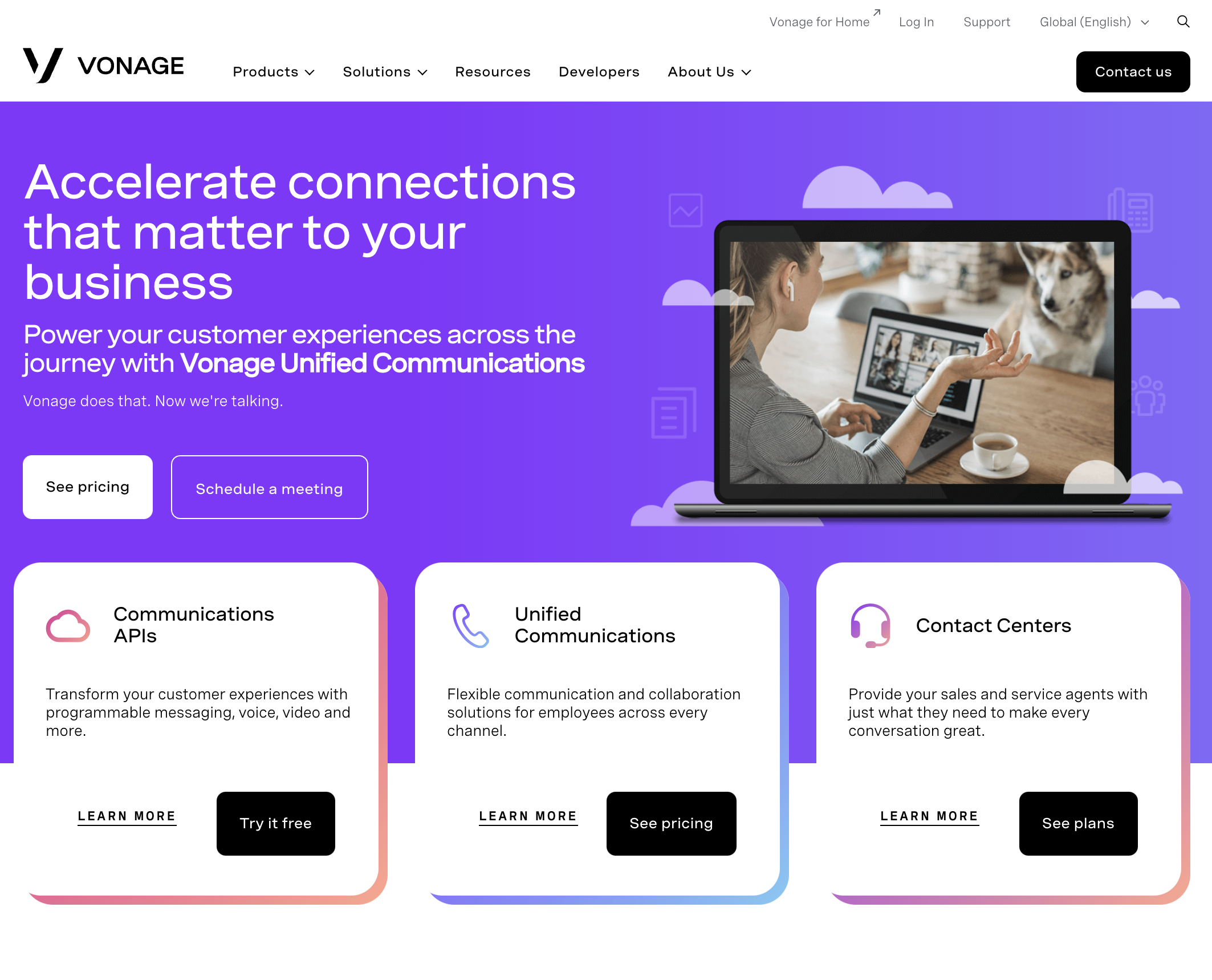 Vonage.com Homepage Screenshot