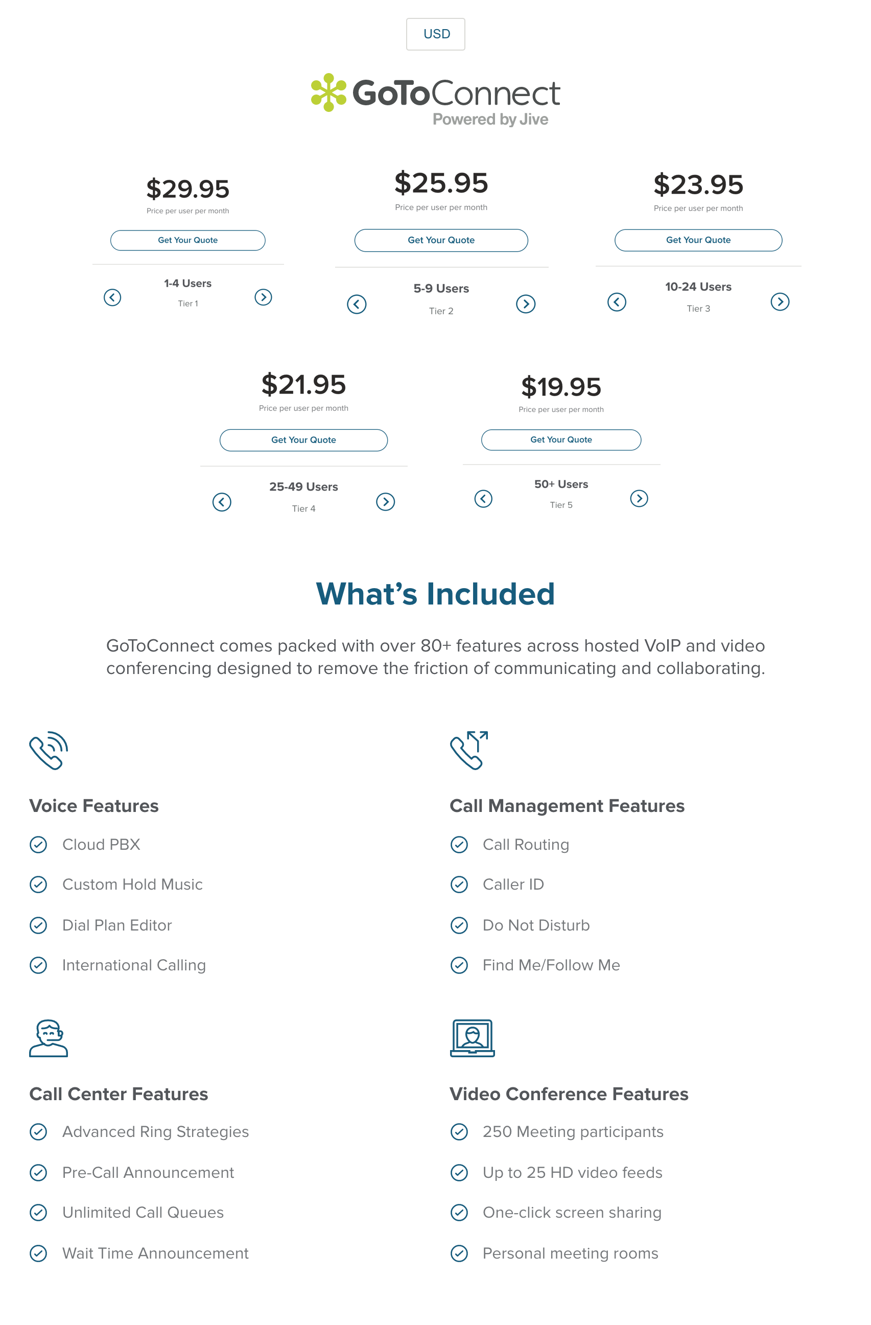 GoToConnect Pricing Tiers