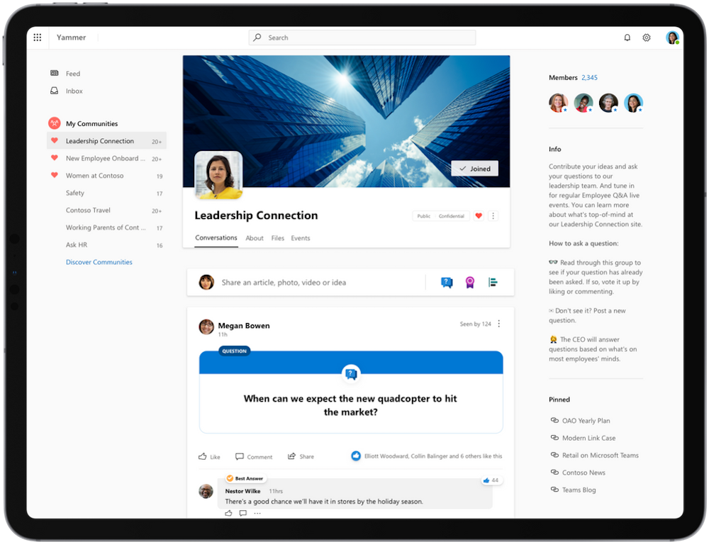 Yammer chat