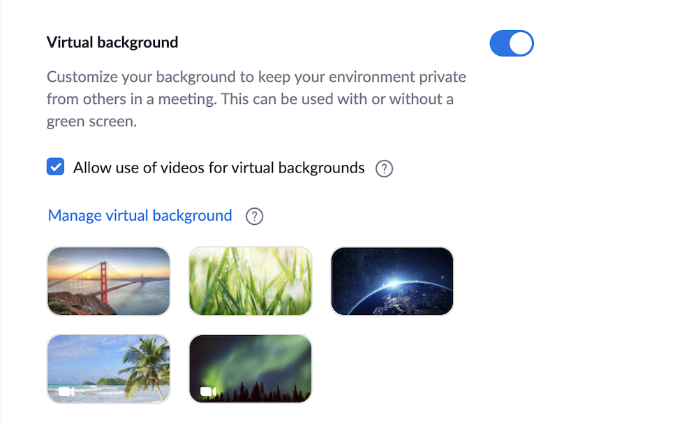 Zoom Default Backgrounds
